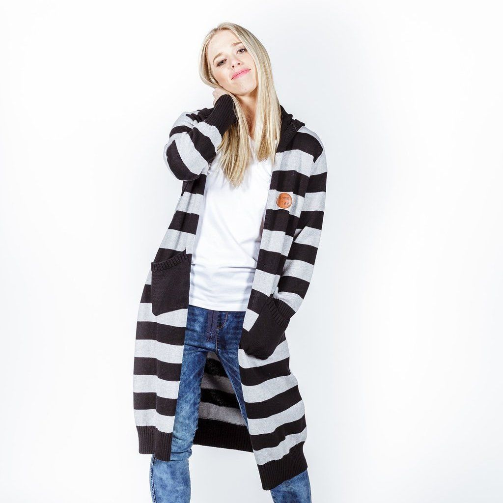 Home-lee | Knitted Cardi Black Grey Stripes | Shut the Front Door