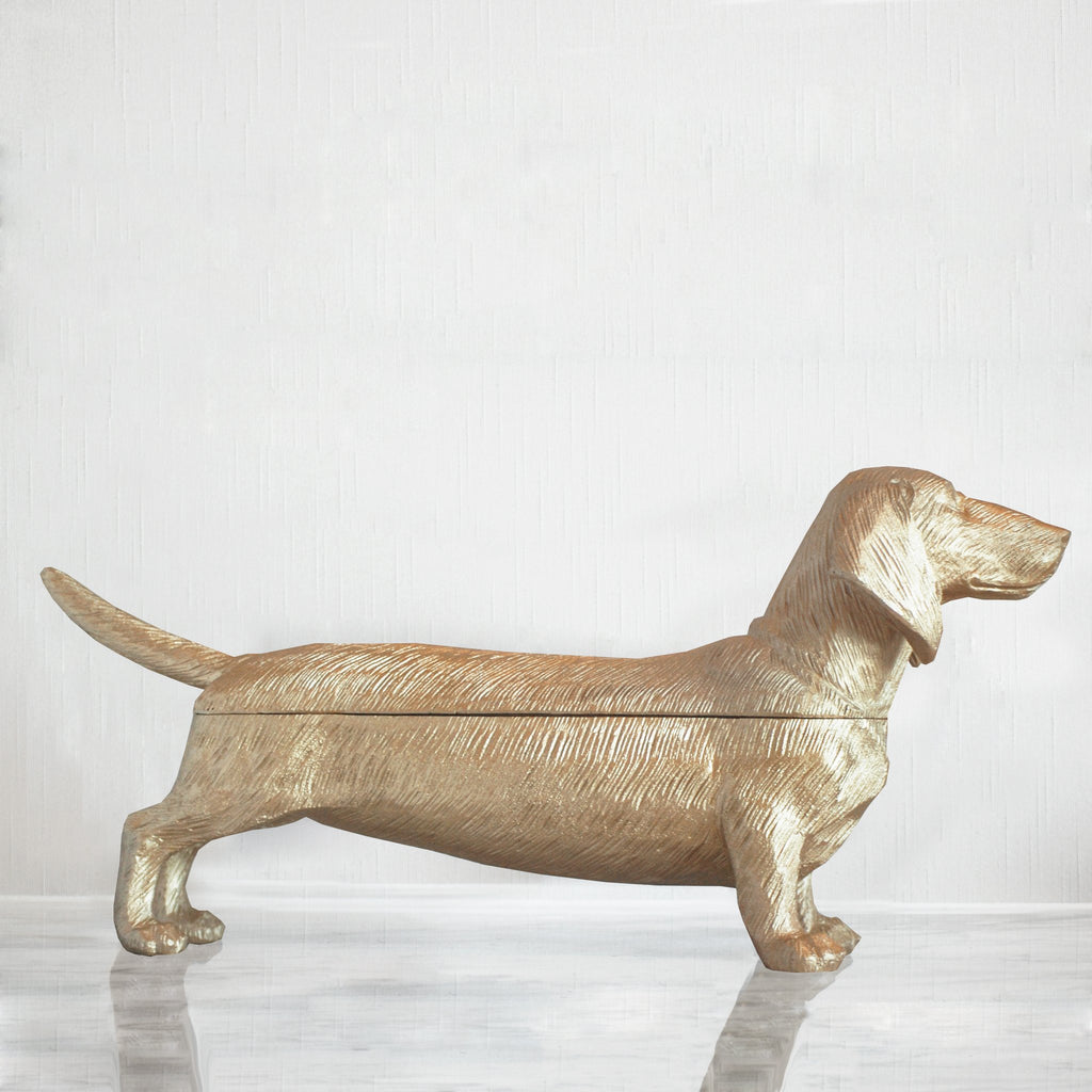 White Moose | Dachshund Secret Bowl GOLD | Shut the Front Door