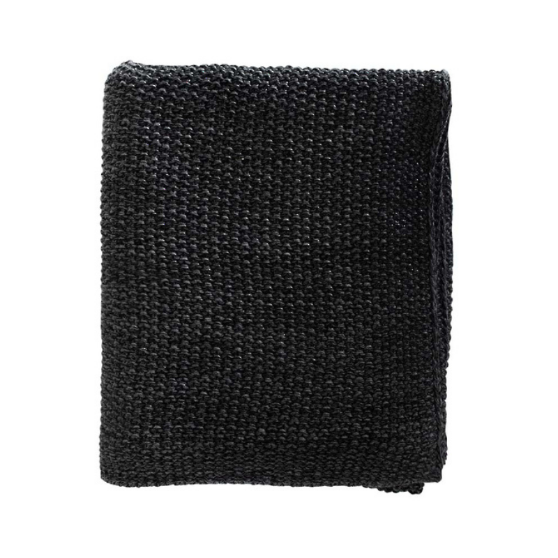 Mulberi | Milford Moss Stitch Throw - Black/Charcoal | Shut the Front Door