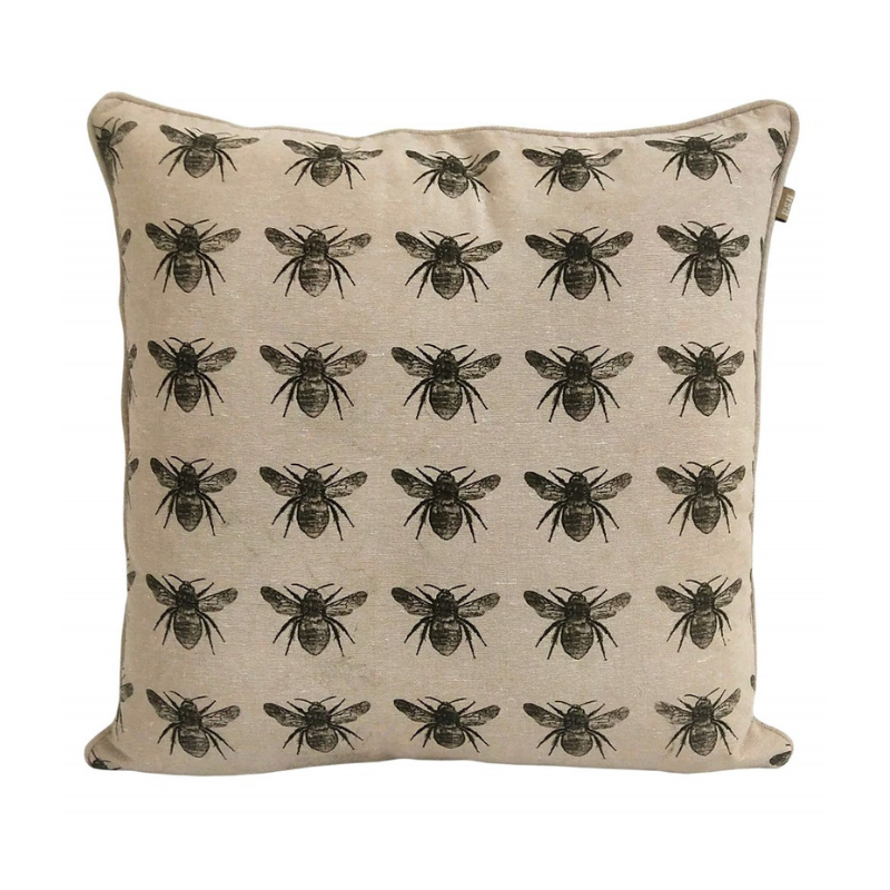 Raine & Humble | Bee Print Cushion 45cm - Olive Green | Shut the Front Door