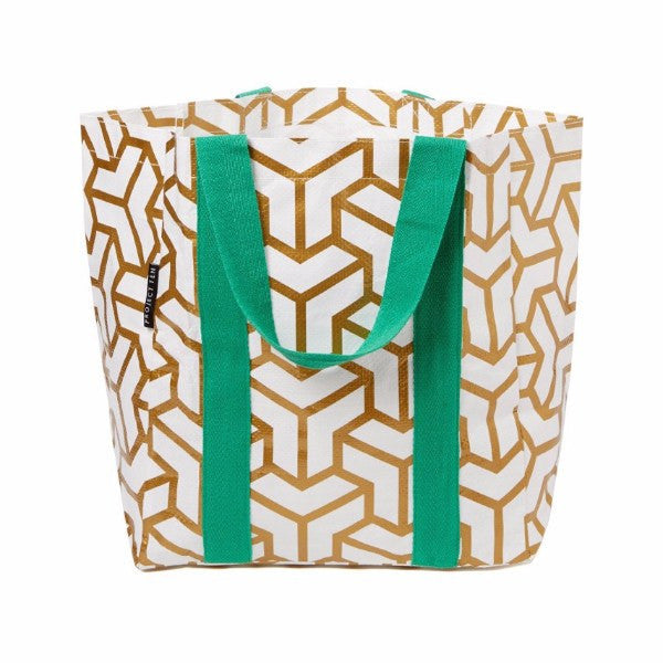 Project Ten | Shopping Tote - Gold Cubes | Shut the Front Door