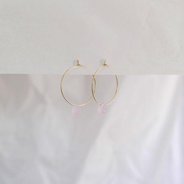 Hydrangea Ranger | Gold Hoops Agate Drops - Pink | Shut the Front Door