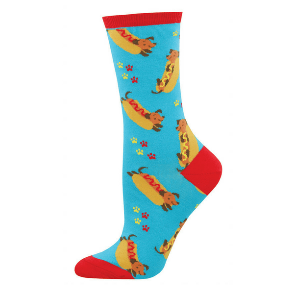 Socksmith | Socks Womens Crew Wiener Dog Blue | Shut the Front Door