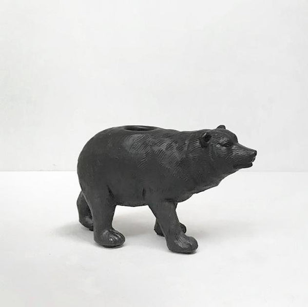 White Moose | Bear Candle Holder Black | Shut the Front Door