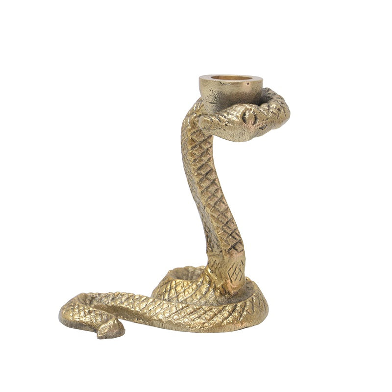 Le Forge | Cobra Candle Holder - Brass 13cm | Shut the Front Door