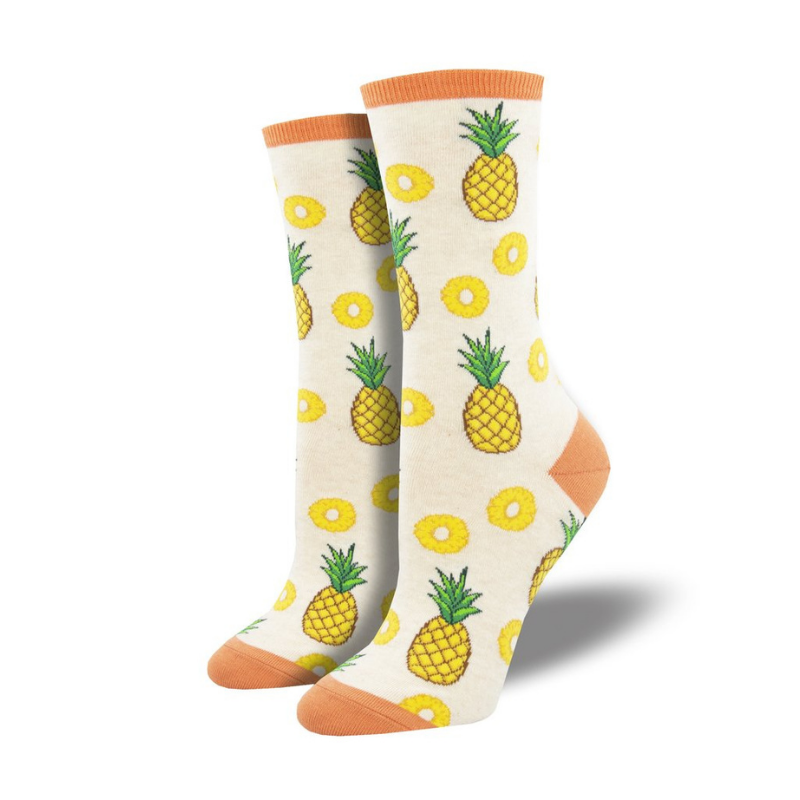 Socksmith | Women's Partial to Pineapples Socks - Ivory Heather | Shut the Front Door