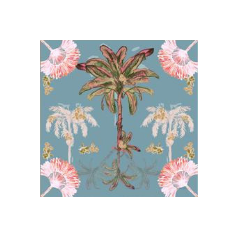 "Libby Watkins | Canvas Palm Hills Vintage Blue 12"" x 12"" 