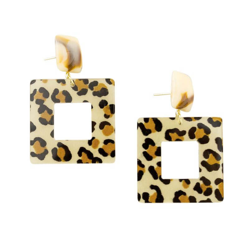 Tiger Tree | Square Resin Leopard Earrings | Shut the Front Door