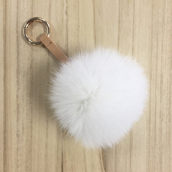 Shut the Front Door | Real Fur Pom Pom Keychain Snowy White | Shut the Front Door