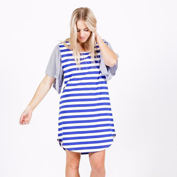Home-lee | Frill Sleeve Dress Blue and White Stripe | Shut the Front Door