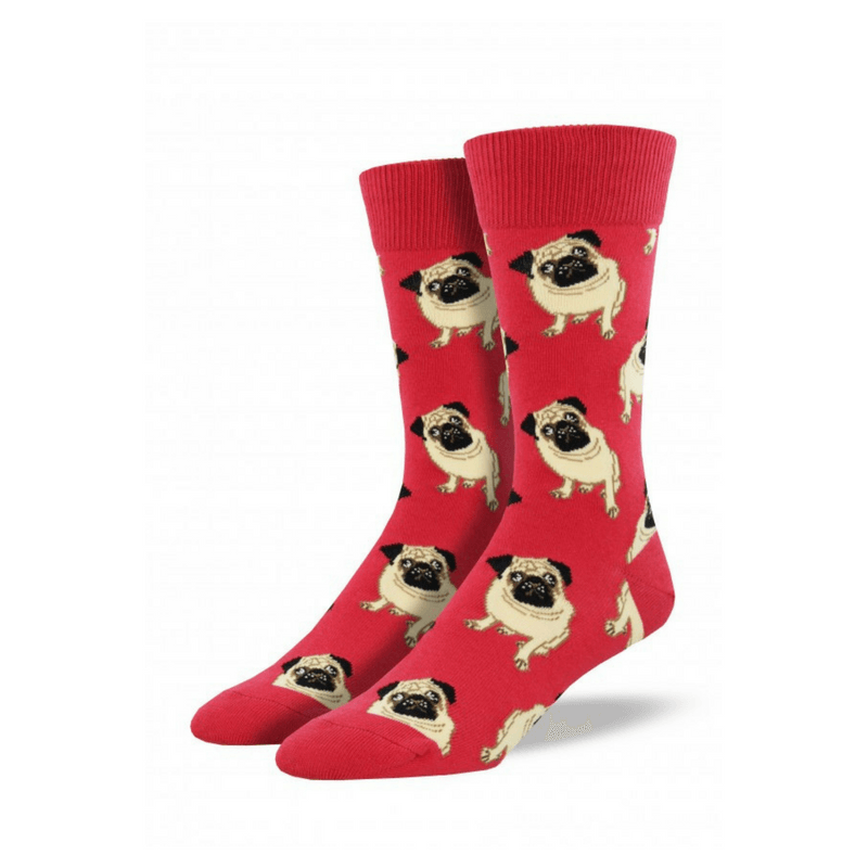 Socksmith | Socks Mens Pugs Terracotta Red | Shut the Front Door