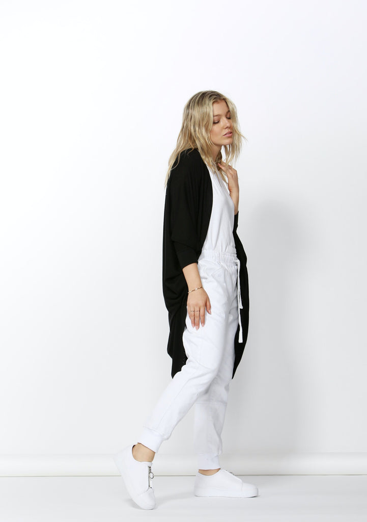Betty Basics | Santorini Drape Cardigan - Black | Shut the Front Door