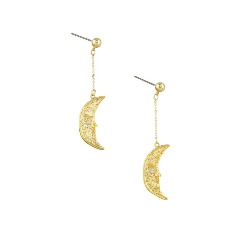 Tiger Tree | Swinging Moon Earrings Gold | Shut the Front Door