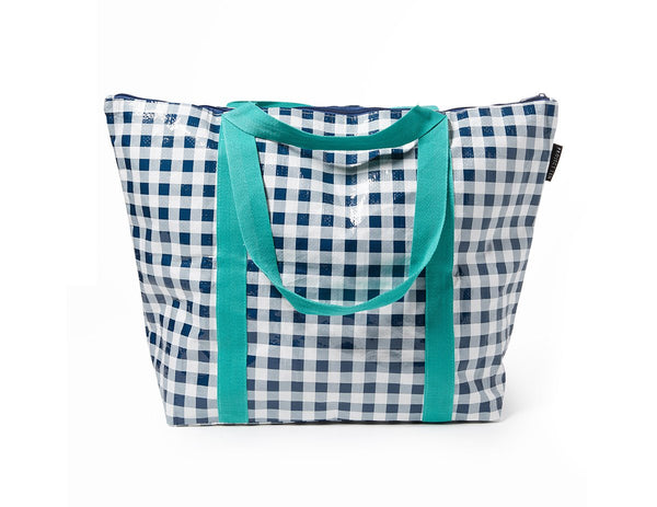 Project Ten | Zip Up Medium Tote Bag - Navy Gingham | Shut the Front Door