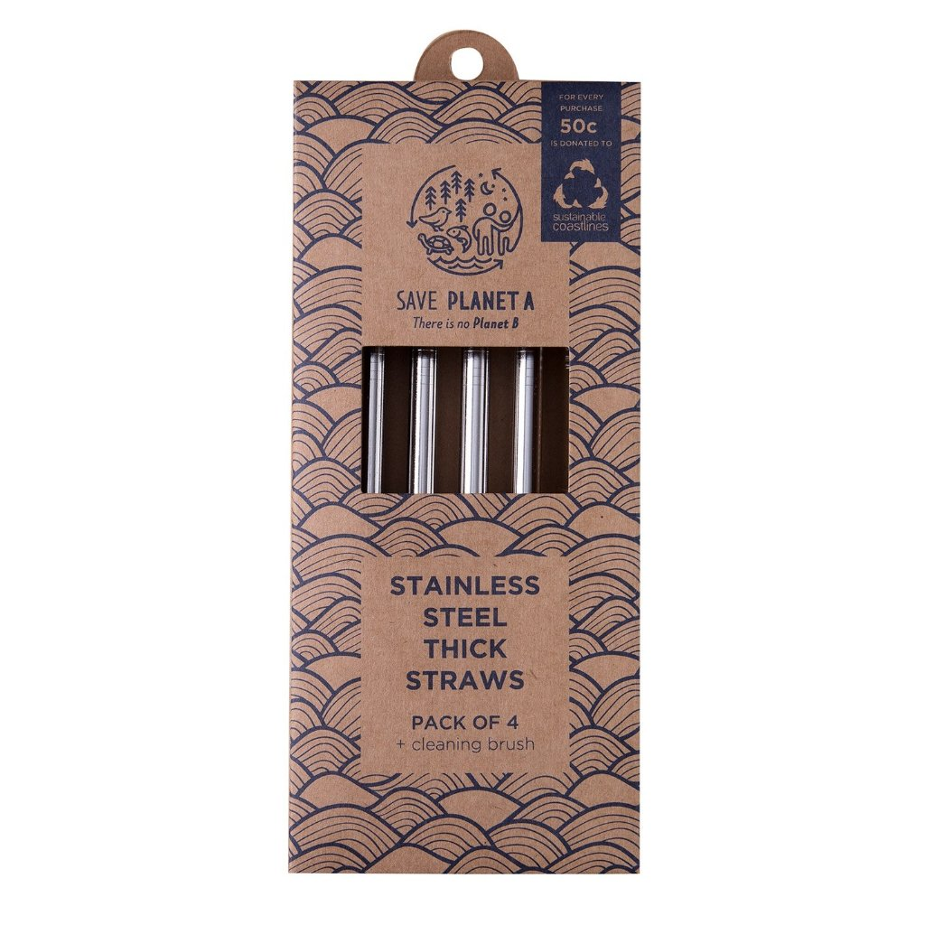 Save Planet A | Stainless Steel Reusable Thick Straws | Shut the Front Door