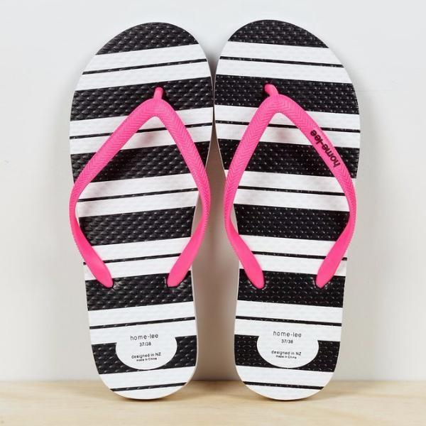 Home-lee | Jandals - Black & White Stripes with Pink Straps | Shut the Front Door