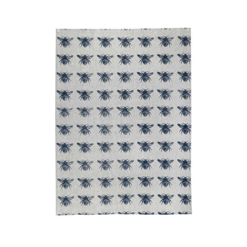 Raine & Humble | Honey Bee Teatowel - Prussian Blue | Shut the Front Door