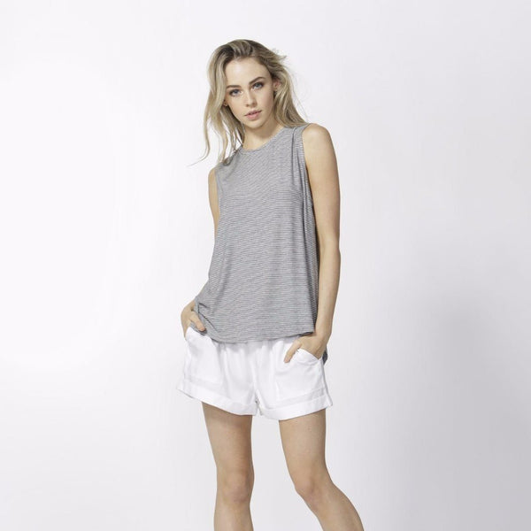 Betty Basics | Capri Tank Silver/Indigo Stripe | Shut the Front Door