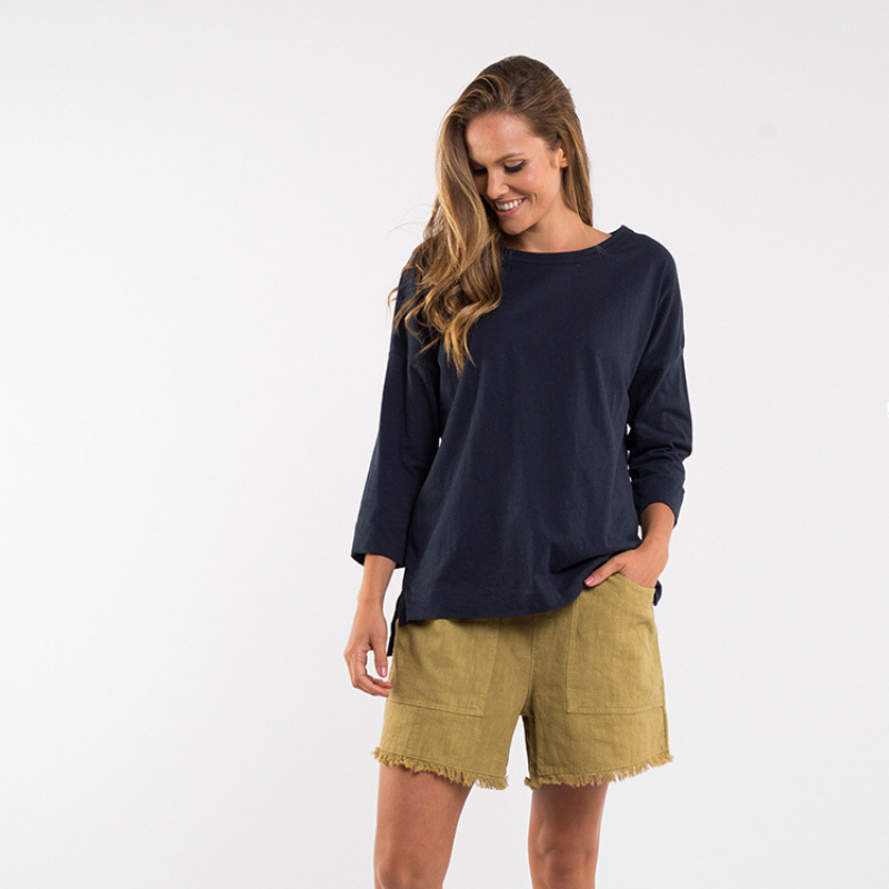 Elm Knitwear | Monsoon 3/4 Sleeve Tee - Navy | Shut the Front Door