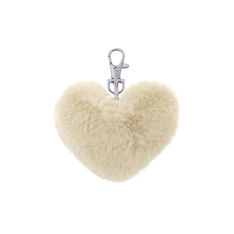 Le Forge | Fluffy Heart Keychain - Ivory | Shut the Front Door