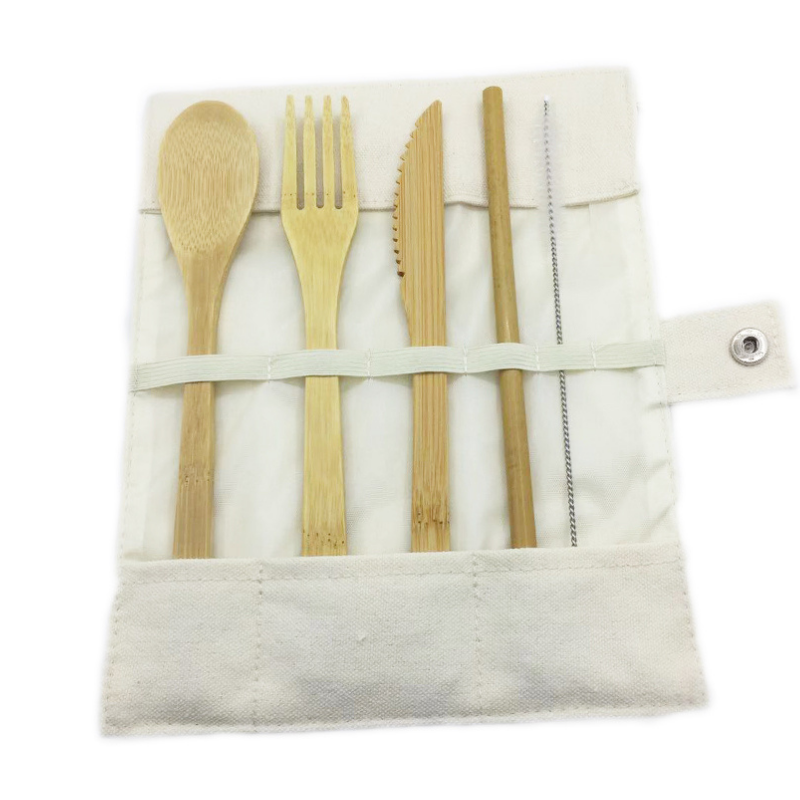 Not specified | Travel Bamboo Cutlery Set - White | Shut the Front Door