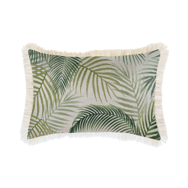 Escape to Paradise | Coastal Fringe 35x50cm Cushion - Seminyak Green | Shut the Front Door