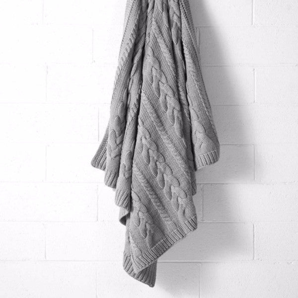 Aura | Aura Jumbo Cable Knit Throw Grey Marle | Shut the Front Door