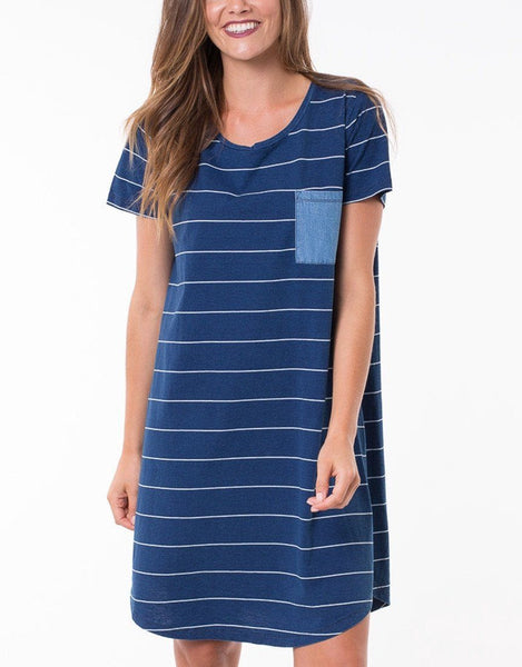 Elm Knitwear | Bahamas Dress Stripe White/Indigo | Shut the Front Door