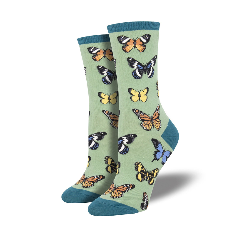 Socksmith | Women's Majestic Butterflies Socks - Green | Shut the Front Door