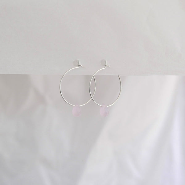 Hydrangea Ranger | Silver Hoops - Pink Agate Drops | Shut the Front Door