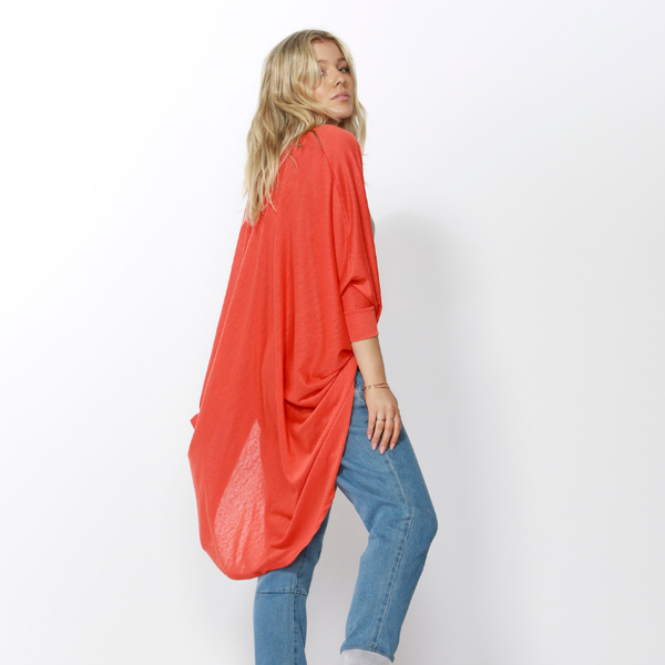 Betty Basics | Santorini Drape Cardigan TANGERINE | Shut the Front Door