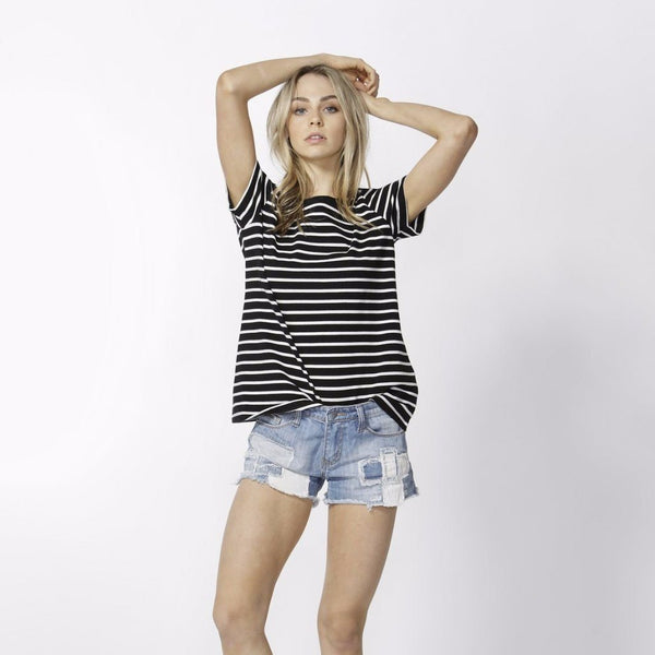 Betty Basics | Cara Tee Black/Ivory Stripe | Shut the Front Door