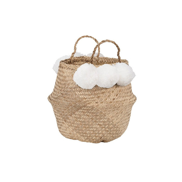 General Eclectic | Seagrass Belly Basket  White Pom Pom | Shut the Front Door
