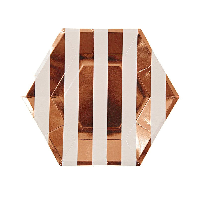Meri Meri | Plates Stripe Rose Gold Sm Pk 8 | Shut the Front Door