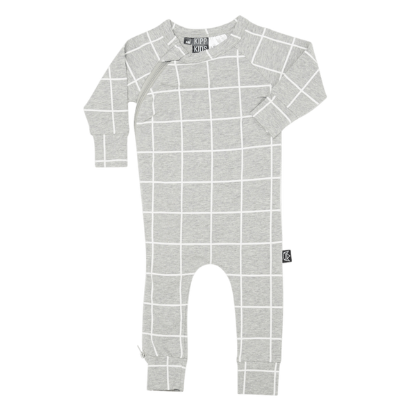 Kipp Kids | Zip Romper Grey/White Check | Shut the Front Door