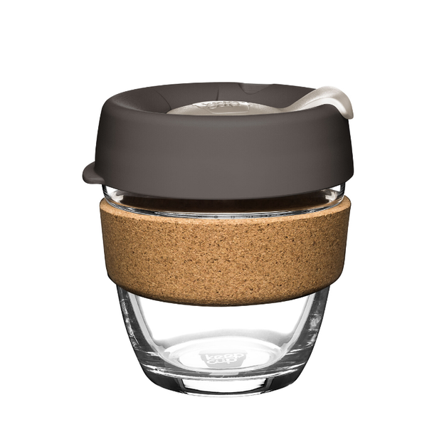KeepCup | KeepCup Cork 8oz Reusable Glass Coffee Cup - Pebble | Shut the Front Door