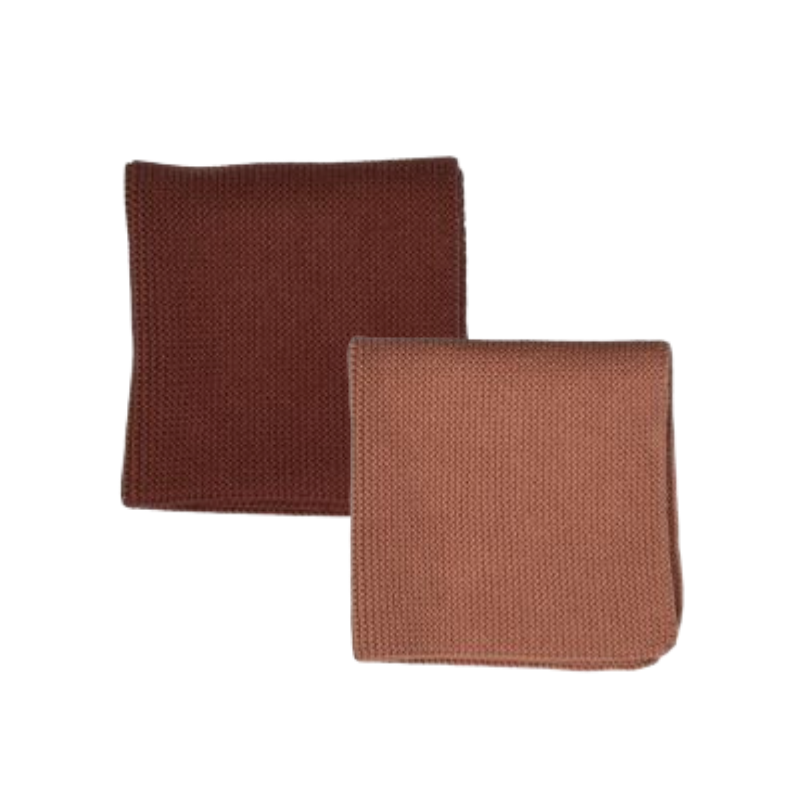 Albi | Milpa Cotton Dishcloth Set -  Dusky Pink  & Terracotta | Shut the Front Door