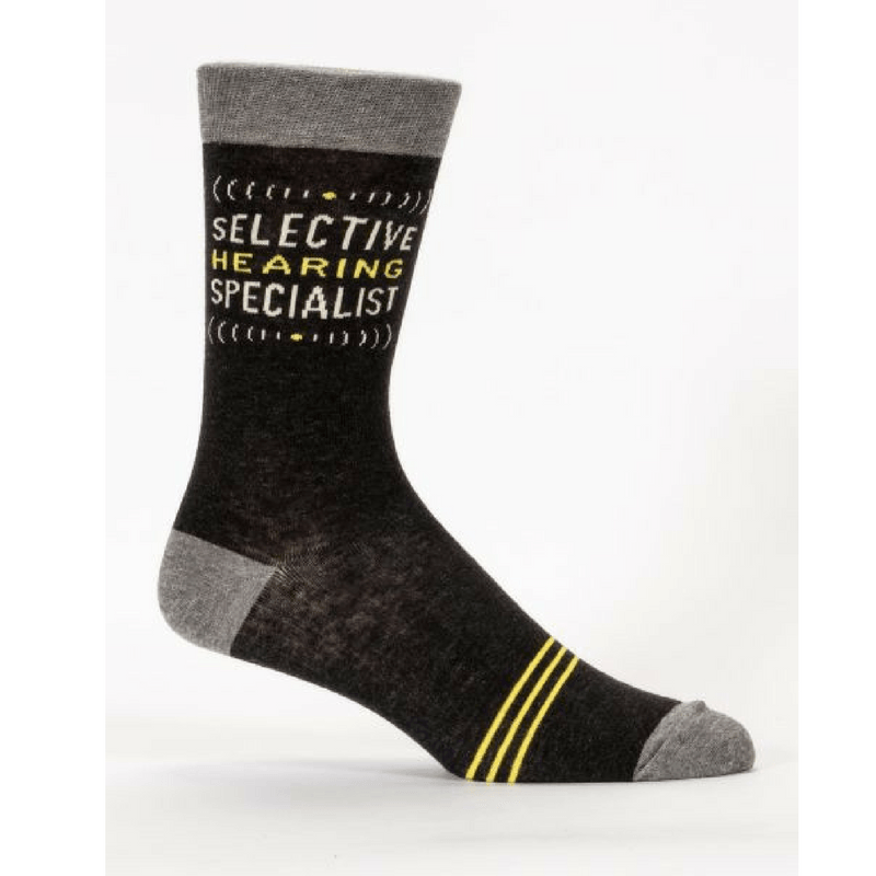 Blue Q | Men's Socks - Selective Hearing | Shut the Front Door