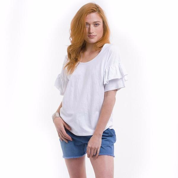 Foxwood | Frankie Frill Tee White | Shut the Front Door