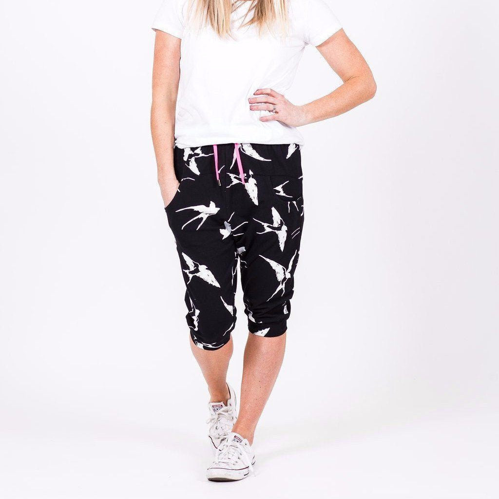 Home-lee | 3/4 Apartment Pant Black White Bird *PREORDER* | Shut the Front Door