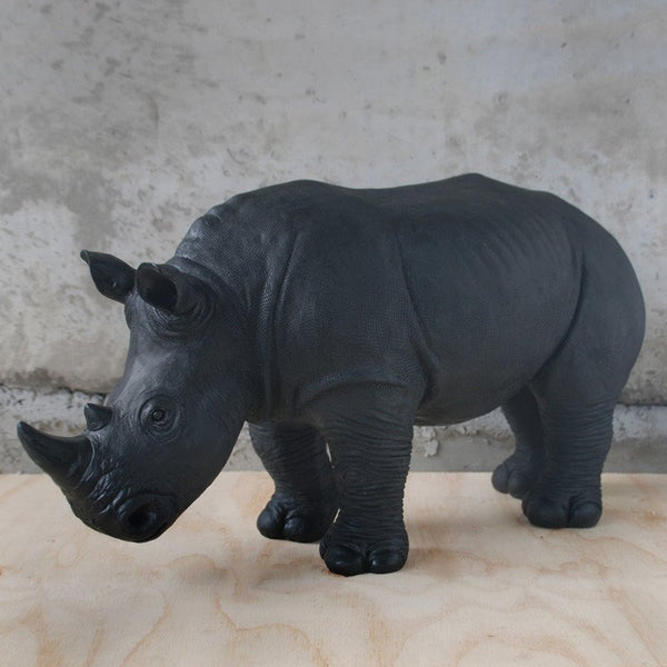 White Moose | Resin Giant Rhino 68cm BLACK | Shut the Front Door