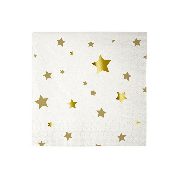 Meri Meri | Small Napkins Gold Stars Pk 16 | Shut the Front Door