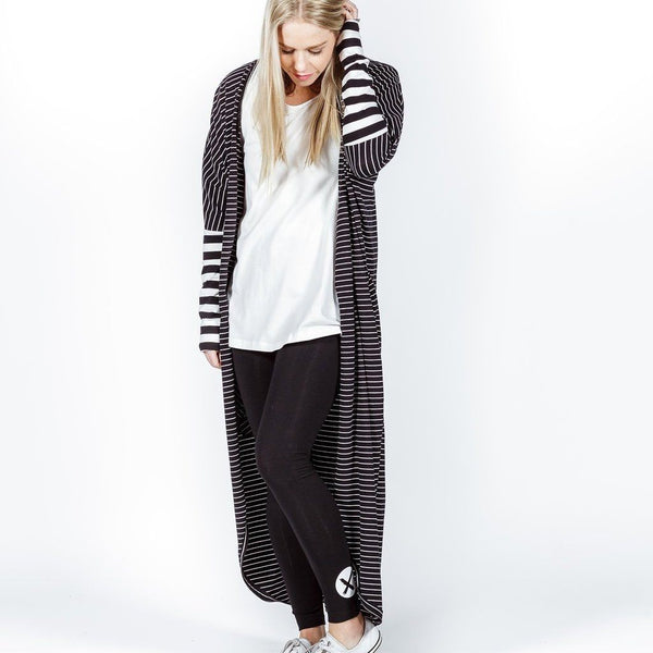 Home-lee | Long Line Kimono Black White Stripes | Shut the Front Door