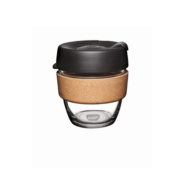KeepCup Cork Reuseable Glass Coffee Cup 8oz/227ml - Espresso
