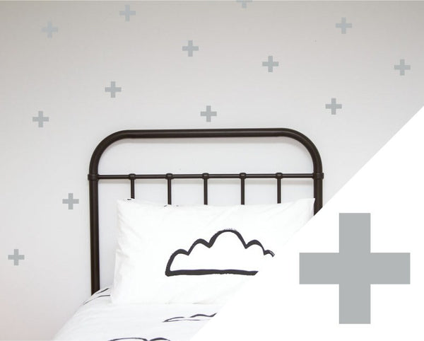 100PercentHeart | Wall Sticker Crosses Large Silver | Shut the Front Door