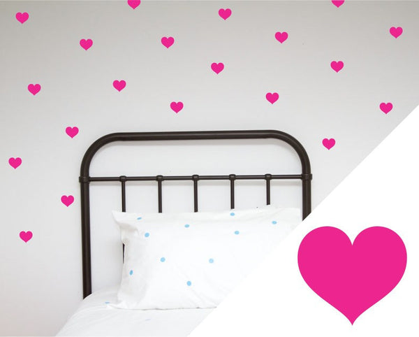 100PercentHeart | Wall Stickers Large Hearts Hot Pink | Shut the Front Door