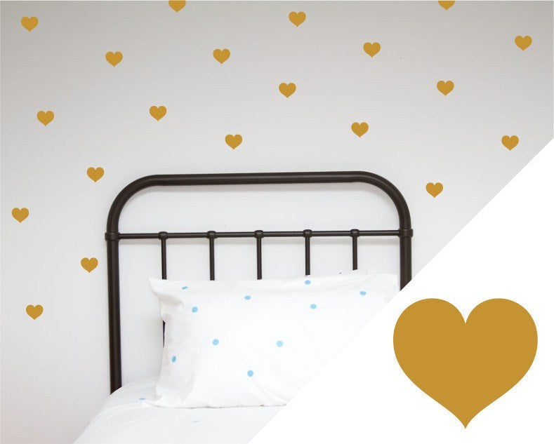 100PercentHeart | Wall Stickers Hearts  Gold Large | Shut the Front Door