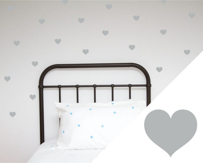 100PercentHeart | Wall Stickers Hearts Large Silver | Shut the Front Door