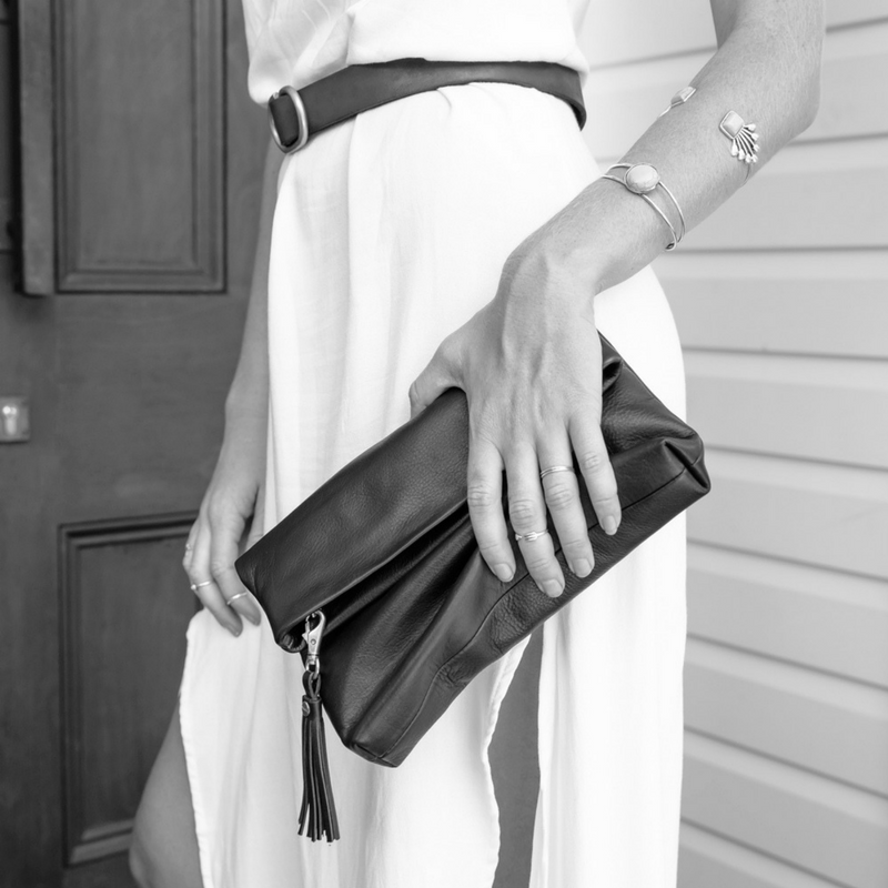 Stitch & Hide | Lily Foldover Clutch/Bag BLACK | Shut the Front Door