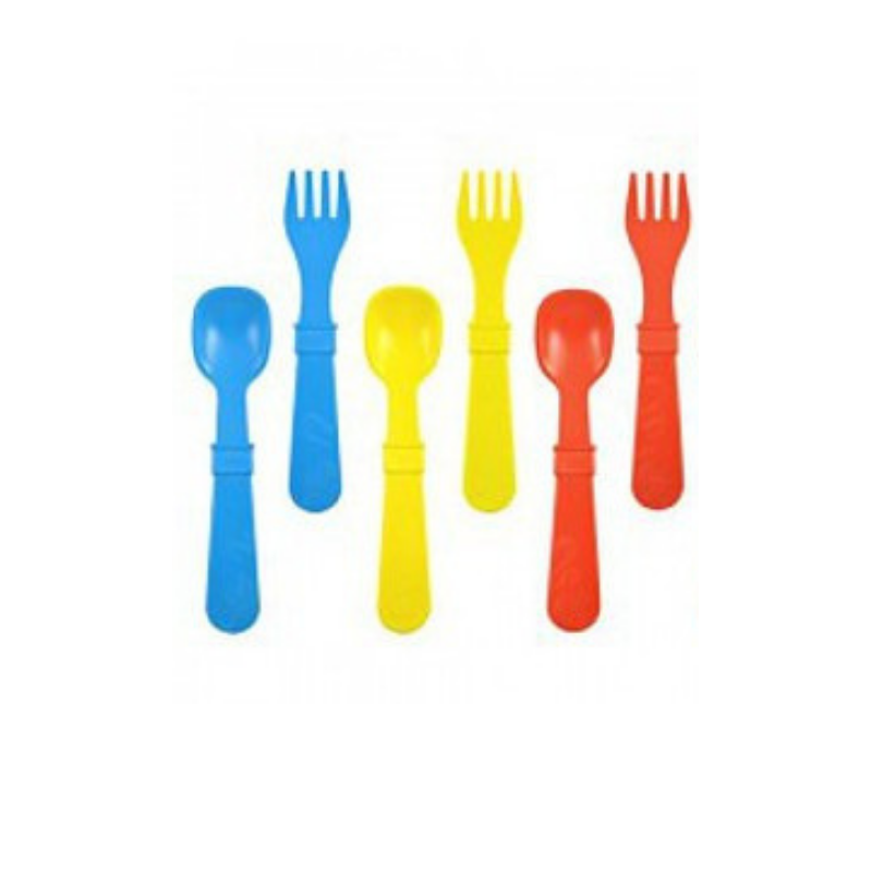 Re-Play | Re-Play Utensils 8 Pack - Blue/Red/Yellow | Shut the Front Door